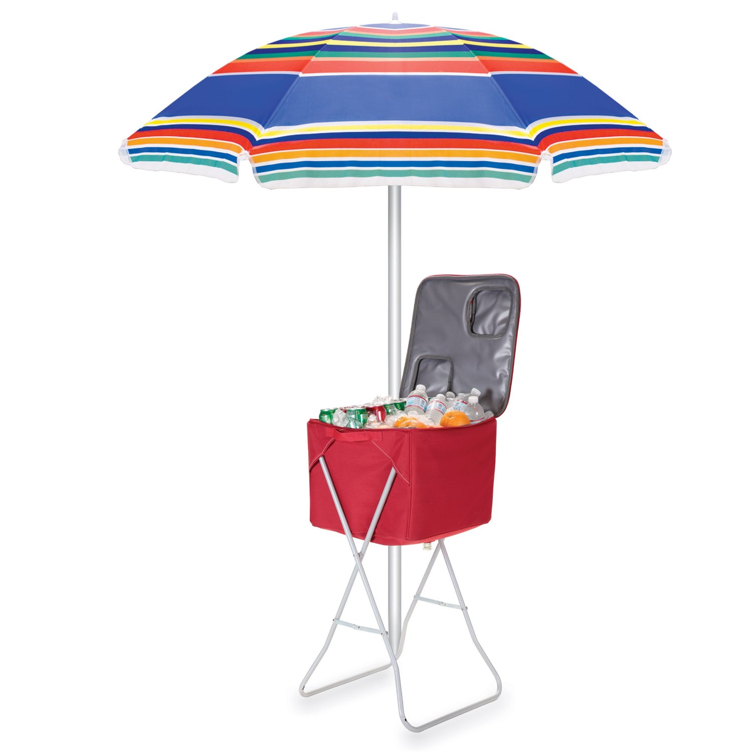 Picnic Time Outdoor Umbrella, Multi-Color Stripe