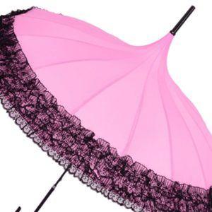 Pagoda Umbrella Anti-Uv Parasol Sunproof Lace Trim with Hook Handle