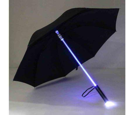 Led transparent umbrella black
