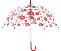 red ladies transparent umbrellas