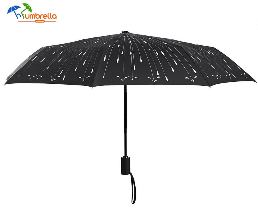 Black Raindrops Automatic Folding Travel Umbrella
