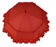 Ladies Sun proof Frilly Red Umbrella Parasol