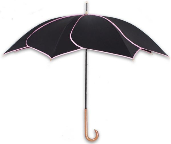 Long-handle Black Petal Swirl Rain Sun Umbrella