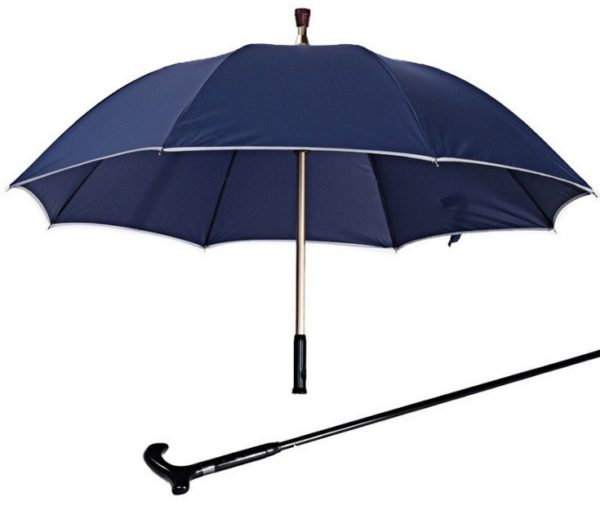 Gentlemen Multi function Adjustable Reflect Crutch Umbrella with T Handle