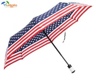 US Flag Umbrella American Flag 3 Folding Compact Travel Windproof Umbrella