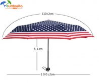 US Flag Umbrella American Flag 3 Folding Compact Travel Windproof Umbrella Wholesale