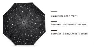Raindrops Automatic Folding Travel Umbrella