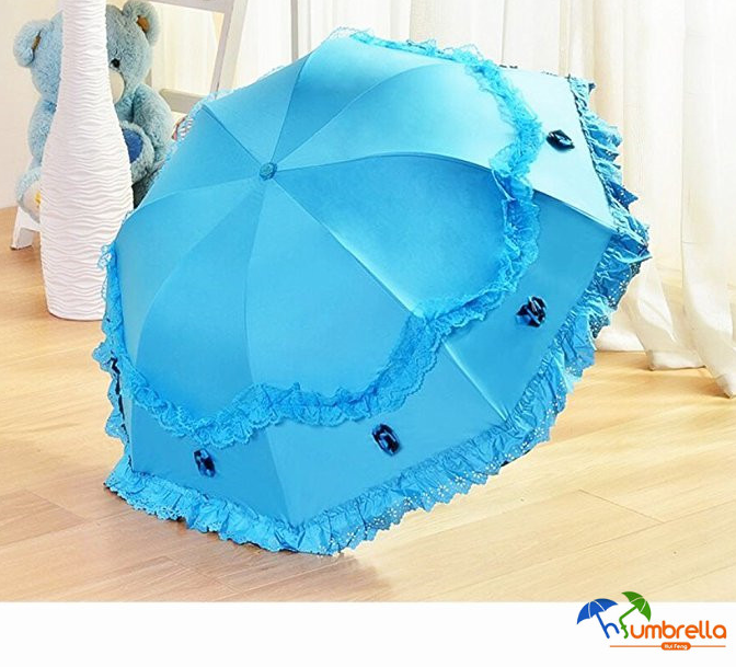 Princess Lace Triple Folding Umbrella Dome Parasol