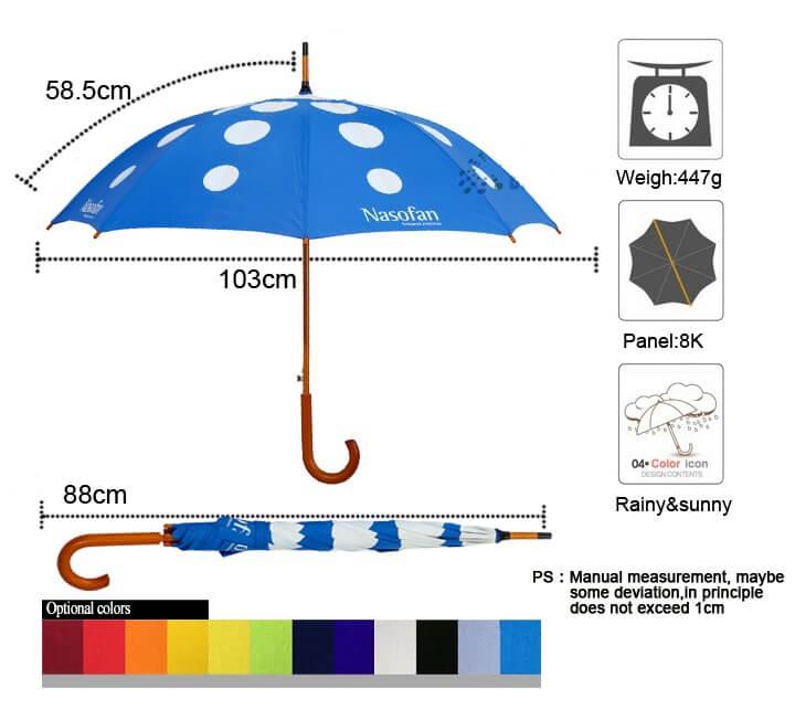 stick umbrella measurement