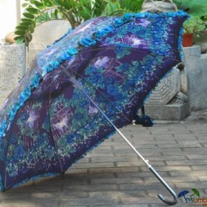 Customized Full Printing Floral Border Beautiful Design Straight Lady Umbrella