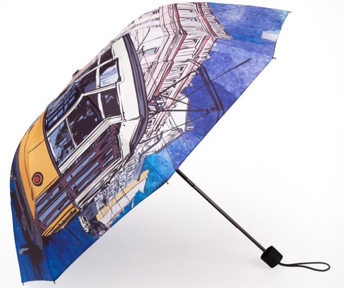 Custom Design Full Color Printed 3 Fold Sun Umbrella