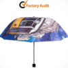 Custom Design Full Color Printed 3 Fold Sun Umbrella