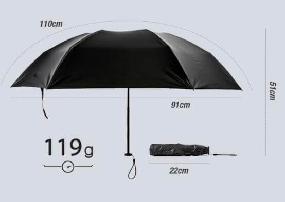 Ultra light umbrella size
