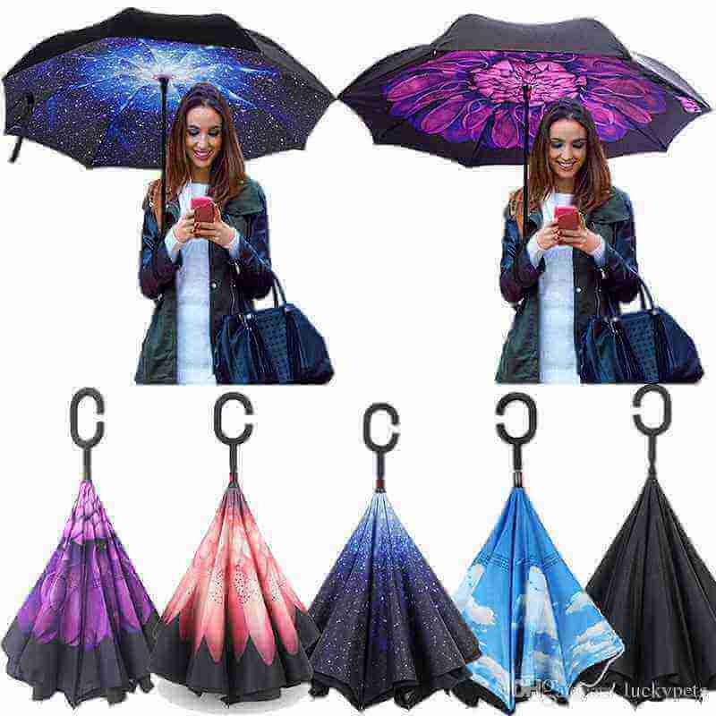 reverse umbrella woman