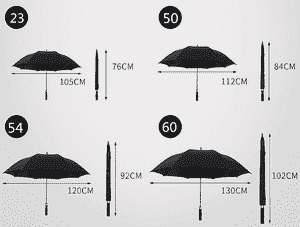 Golf umbrella size