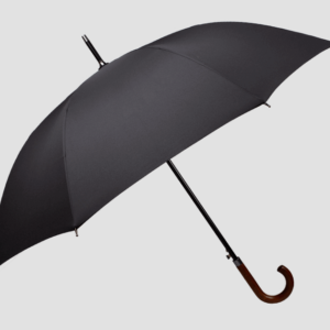 black umbrella wooden handle