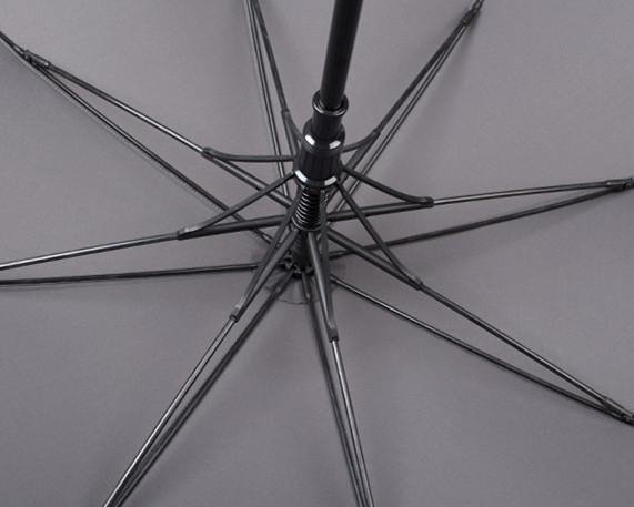 black umbrella wooden handle ribs