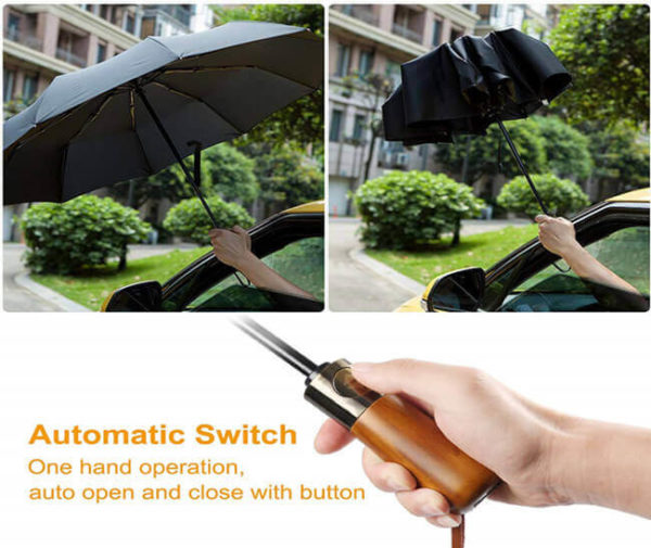 en's Automatic Umbrella with Wood Handle