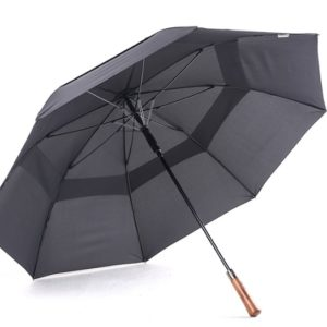 black umbrella with wooden handle