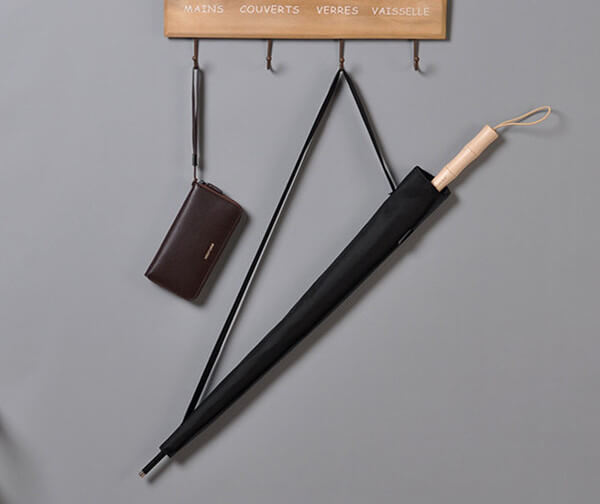 durable straight umbrella with bamboo handle