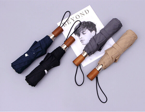 wooden handle folding umbrella