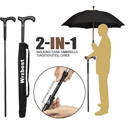Wrzbest 2-in-1 Walking Sticks Umbrella