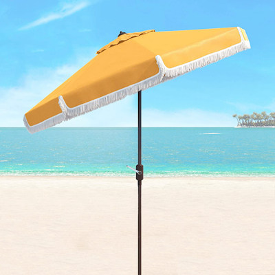 Yellow fringe beach umbrella
