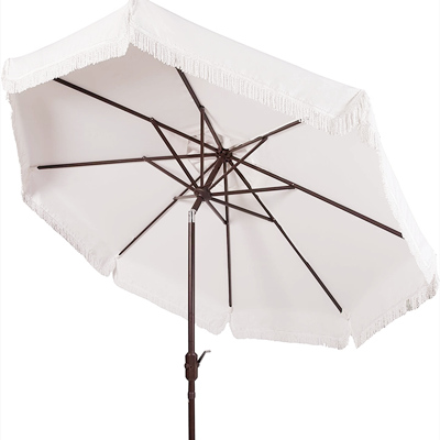white fringe beach umbrella frame