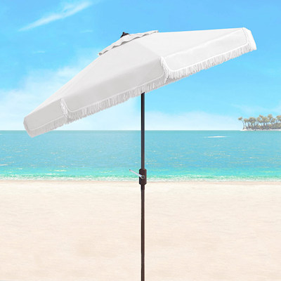 white fringe beach umbrella