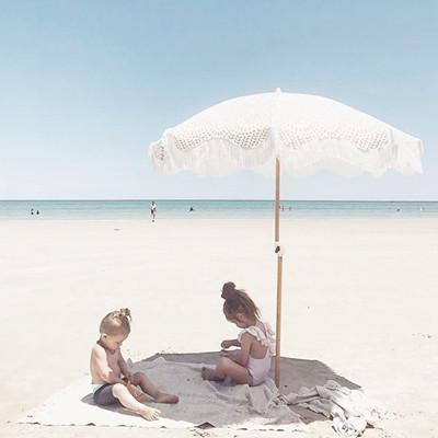 Boho Beach Umbrella with Wood Pole