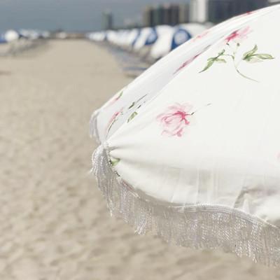 Rose Beach Umbrella Parasol with Tassels