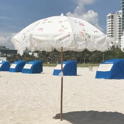 Rose Beach Umbrella with Tassels