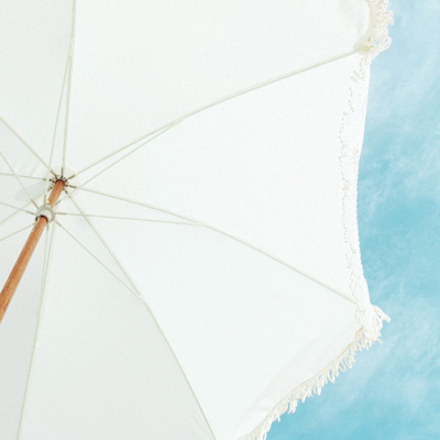 White Beach Umbrella with Fringe