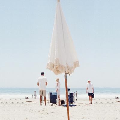 White Beach Umbrella with wood pole