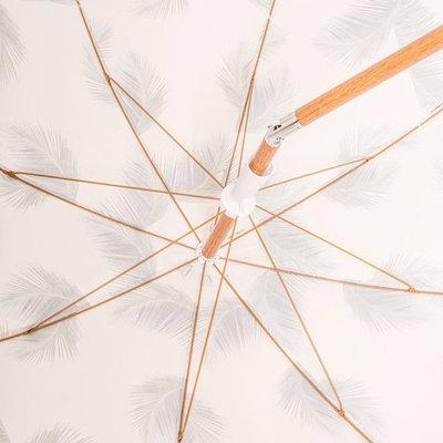 retro palm tree beach umbrella with wood frame