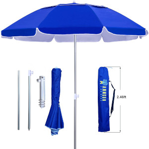 AMMSUN 6.5 ft Twice Foldable Beach Umbrella