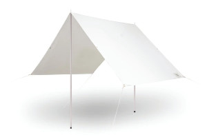 Antique White Canvas Beach Tent Umbrella