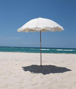Lauren's Sage Stripe Beach Umbrella