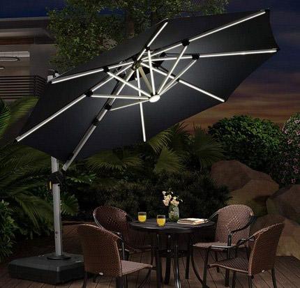 Solar Powered Led Patio Heavy Duty Sun Umbrella